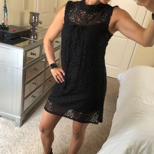 Black Lace Mock Neck Dress Black XS LBD